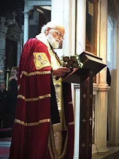 Gregorio III Laham em missa de exéquias de 5 mártires, 25/04/2017- Damasco
